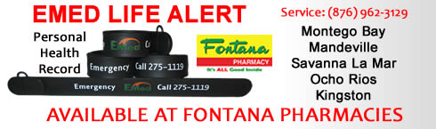 Fontana Pharmacy sells EMed Jamaica PHR wristbands 20.00 usd